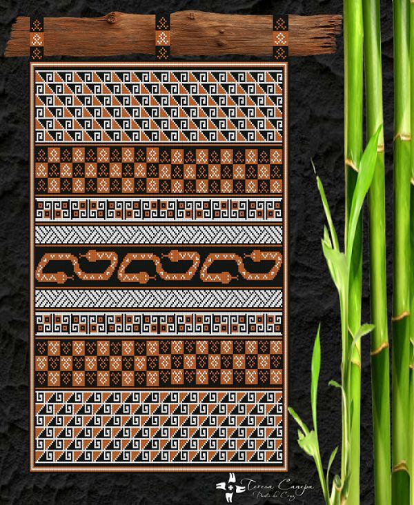 ✄ PATRON PUNTO CRUZ    Mural Diaguita  Para bordar con Lanas Gruesas.  190 puntos de ancho  246 puntos de largo.  Medidas aprox. si se borda en esterilla gruesa y lanas gruesas:   79 Cm Ancho por 1,02 Mt Alto  Utiliza 3 colores http://puntocruzandino.weebly.com/