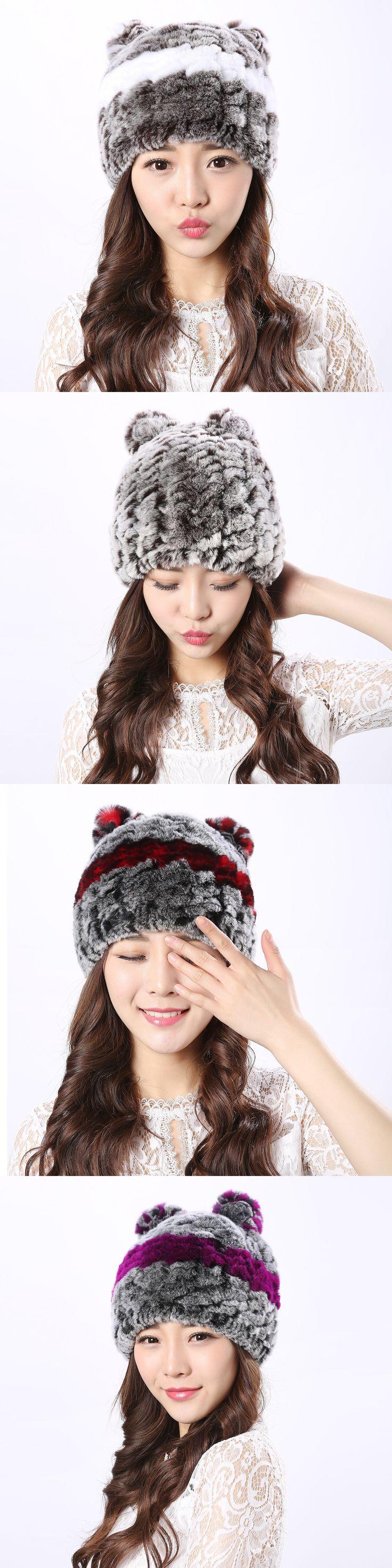 The new Rex fur cat ear cap female models in autumn and winter fur plush hat cute fashion student