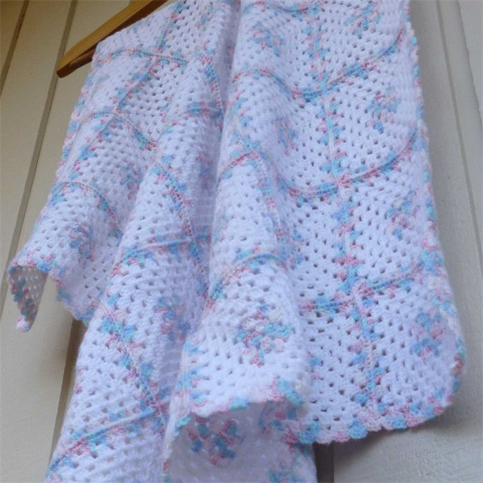 baby blanket   crochet granny squares   white, multicolour pastel pink & blue