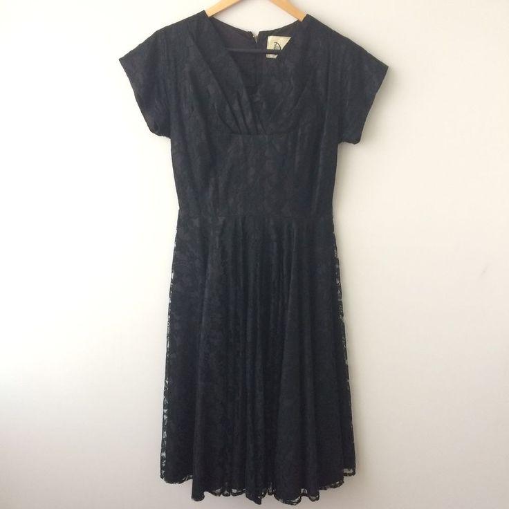 Vintage David Stock Black Lace Deep Purple Dress Size 12 Cocktail Short Sleeve  | eBay