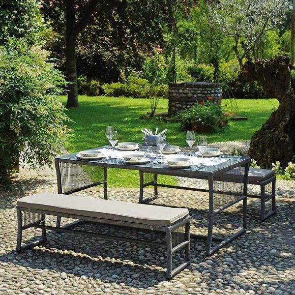 Tavolo Giardino Con Panche.Set Da Giardino Con Panche E Tavolo Moia Ds 05 Mobili Da Giardino Arredamento Giardino Tavolo
