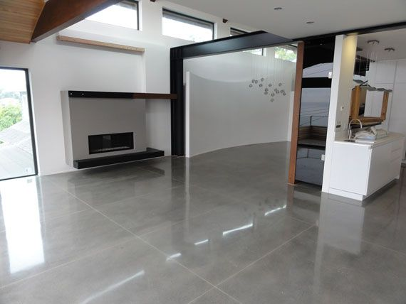 Polished concrete floors residential levelmaster for Residential concrete floor wax