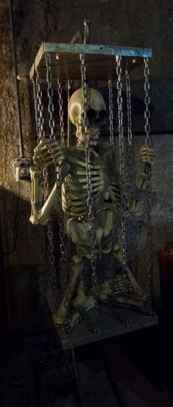 a halloween skeleton sits propped in a hanging cage as part of the dungeon decor of