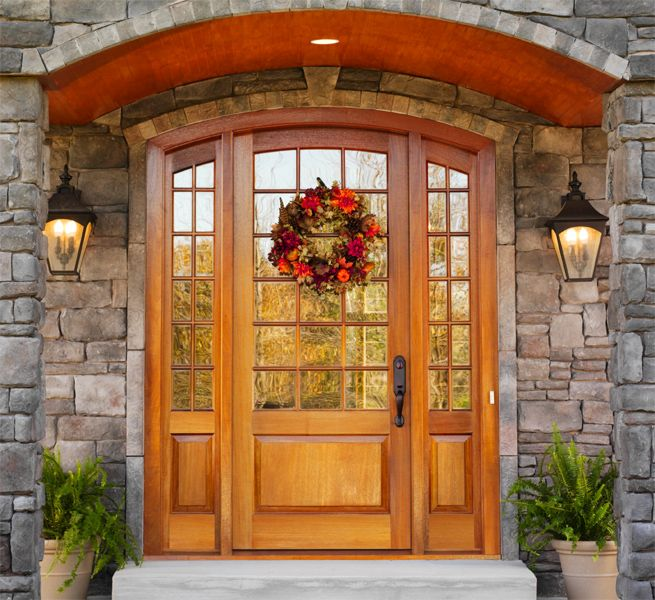 Mahogany Arched Entranceway 18 Lite Over 1 Panel Door With 12 Lite Over 1 Panel Sidelites