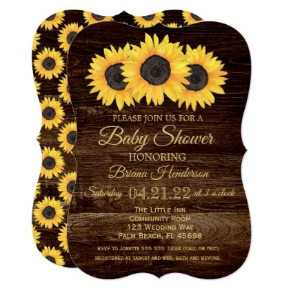 Sunflowers Baby Shower Invitation Rustic Wood - baby gifts child new born gift idea diy cyo special unique design