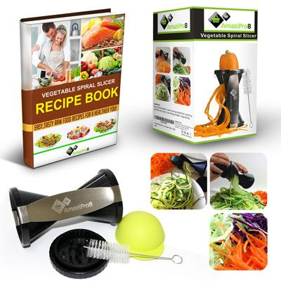 Vegetable Spiralizer Complete Bundle - Spiral Slicer comes with FREE Spiral Recipe eBook & FREE Silicone Soda Can Lid, 300 plus Amazon Reviews I NEED THIS!!