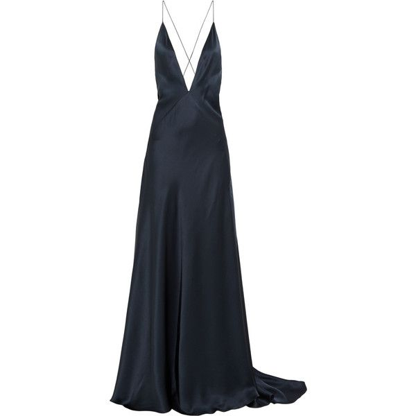 Michael Lo Sordo Alexandra silk-satin maxi dress (5 830 PLN) ❤ liked on Polyvore featuring dresses, gowns, long dress, blue, cross back dress, evening maxi dresses, maxi dress, draped gown and maxi gown