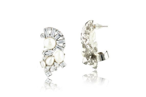 Pearl and Crystal Ear Cuff  Statement by ExperimentalJewels