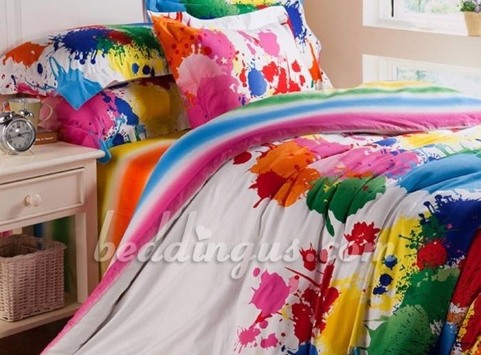 Paint splatter bedding for Lauren's room