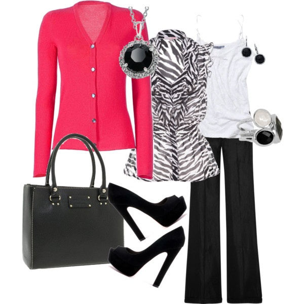 cute!: Pink Zebras, Colors Combinations, Work Wear, Animal Prints, Zebras Prints, Work Outfits, Business Casual, Black Pants, Pink Black