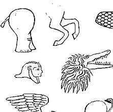 Line drawing of body parts of various real and mythical