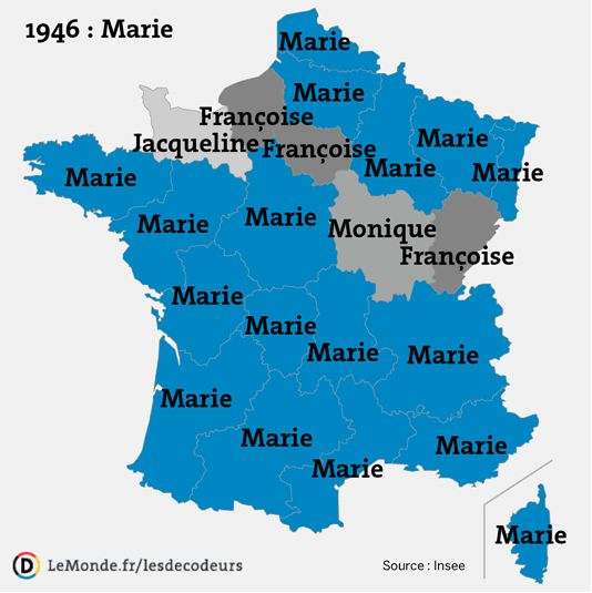 Most popular female baby names in France, by province, 1946–2012.