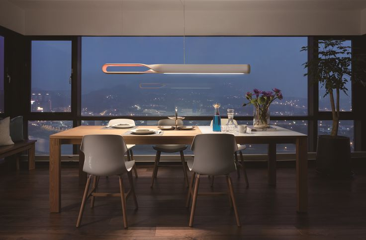 Linear suspension lamp for dinning table from QisDesign
