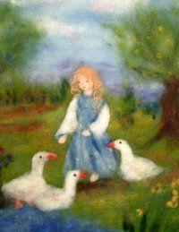 die Gänsemagd/ Manuela Urban macht die schönsten Märchenbilder aus Wolle! / http://www.maerchenwollbilder.de/index.htm