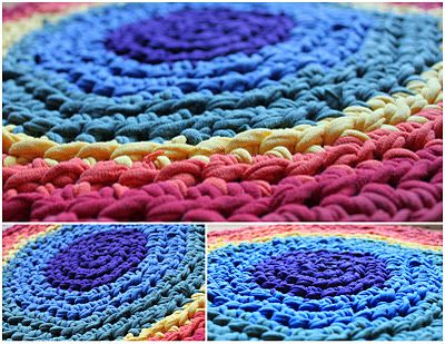 Upcycling, Crochet - T-Shirt yarn rug.: T Shirts Yarns, Rag Rugs, Crafts Ideas, Thrift Shops Finding, Home Decor, Crochet Rugs, Rainbows Rugs, T Shirts Rugs, Upcycled Thrift