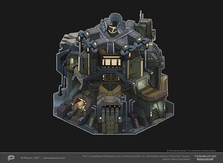 "ArtStation - Tier 7 a buildings of Resistance the Command Centre for ""Terminator Genesis: Future War"" project, Maria Gritsutenko"