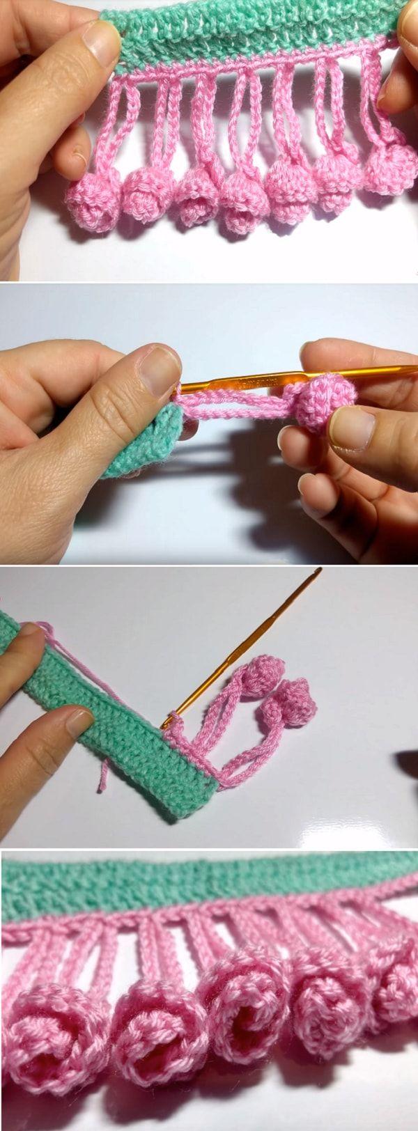 Crochet Rococo Flower edging - Video Tutorial | Pinterest