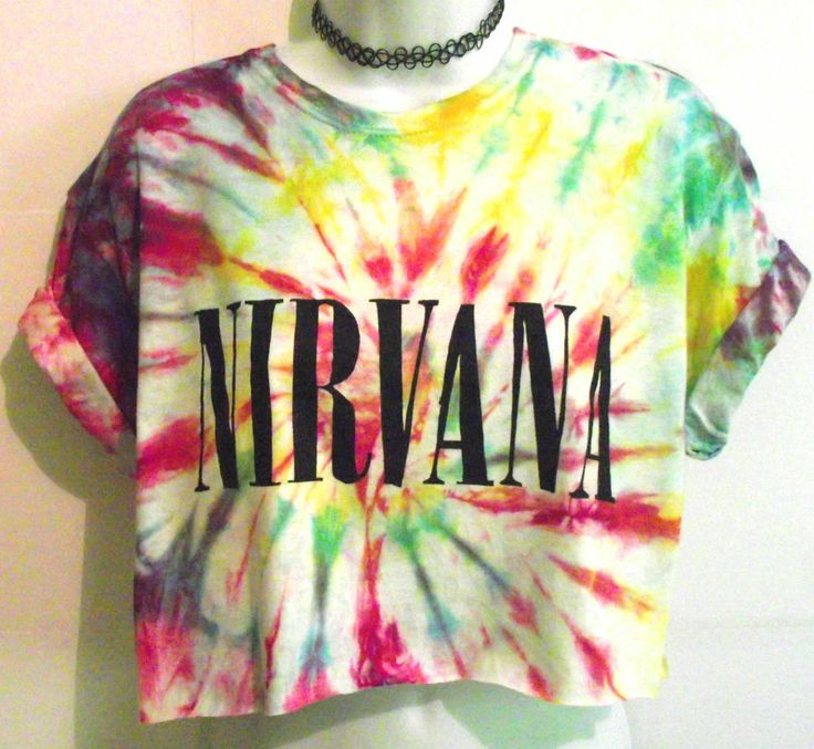 TIE DYE NIRVANA T SHIRT Crop Top Blouse Huf Retro 90s Dip Vintage Band S 6 8 10