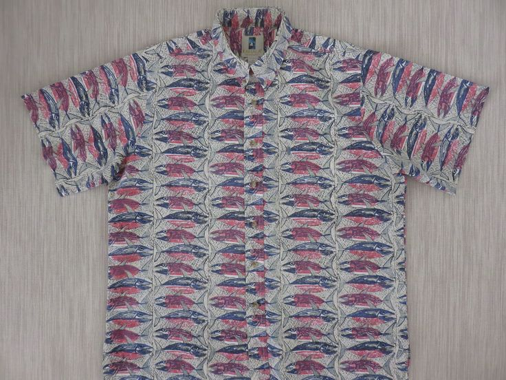 Hawaiian Shirt Men KAHALA Vintage 80s Aloha Shirt Tropical Fish Deep Sea Sport Fishing Ono 100% Cotton Camp - XL - Oahu Lew's Shirt Shack by OahuLewsShirtShack on Etsy