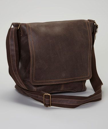 Take a look at this Café Distressed Vertical Messenger Bag by David King & Co. on #zulily today!