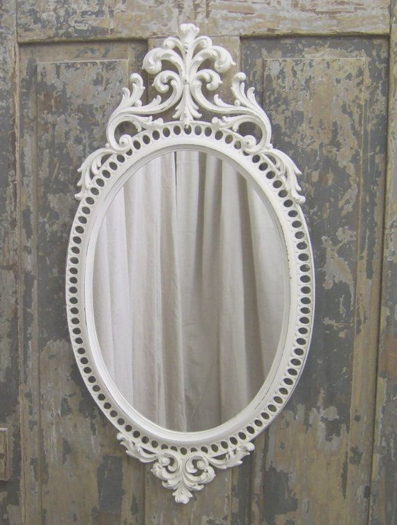 Shabby White Rococo Style Oval Mirror Chic Oval Mirror