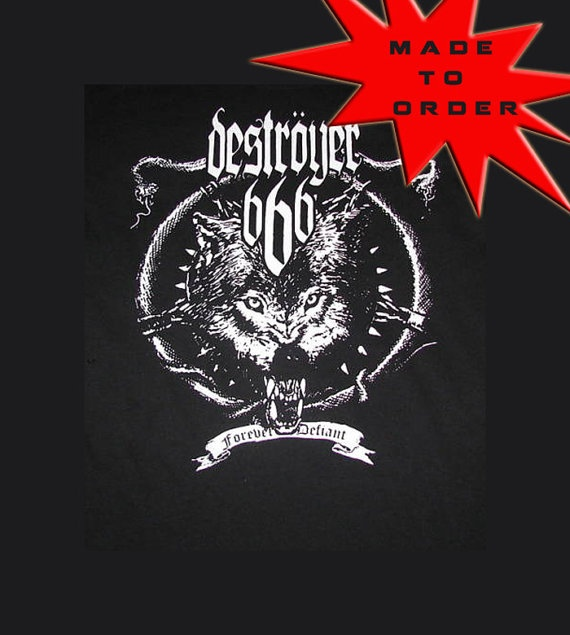 $22 Destroyer 666 band shirt customized just for you tank top tube top corset sides whatever style you desire, this shirt will be customized just for you. DIY reconstructed upcycled black metal thrash metal heavy metal rocker chick