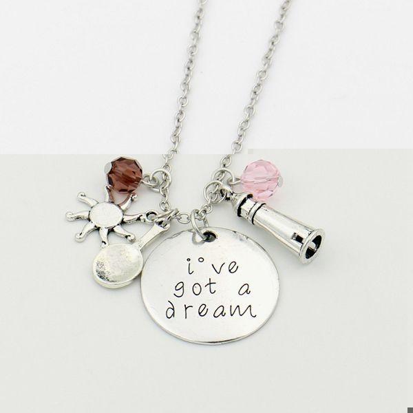 """De Tangled """"Ik hebt een droom"""" Hand Stamped Brief Ketting, Tangled Kristallen charms Steampunk Ketting Film sieraden voor Vrouwen"""