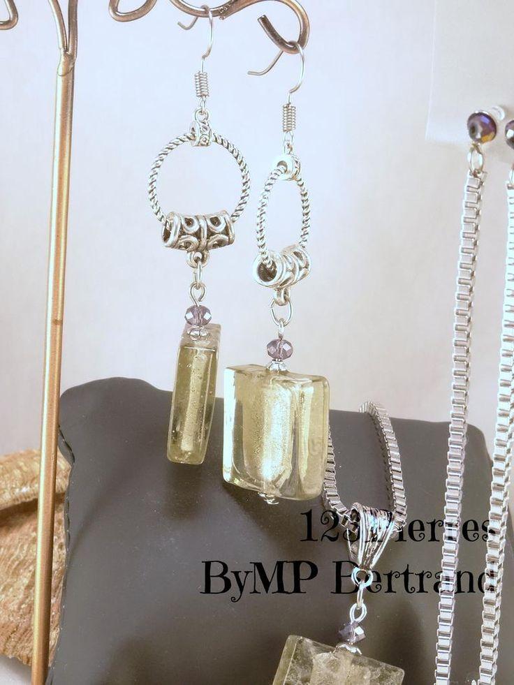 Harmonie mauve, collier pendentif, bracelet, boucles d'oreille, 4 modèles au choix, clips ou crochet, parure ou à l'unité, bijoux artisanaux