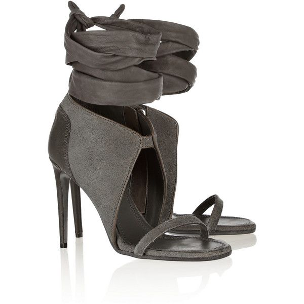 Rick Owens Suede and leather sandals ($534) ❤ liked on Polyvore featuring shoes, sandals, heels, boots, stone, high heel shoes, leather high heel sandal, wrap sandals, gray sandals and grey shoes