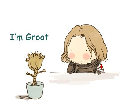 THIS IS TOO ADORABLE Bucky and Groot should meet each other