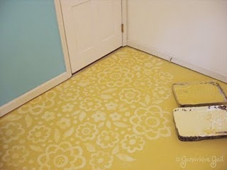 Painted and stenciled floor. I think I may do this with the upstairs bathroom since it's old linoleum.