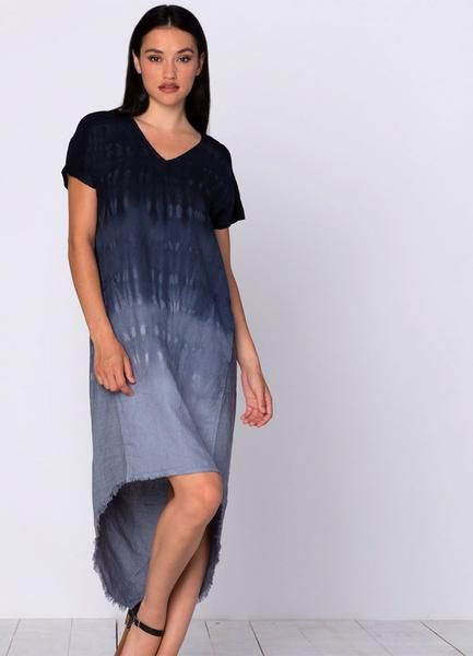This chic t-shirt inspired dress from XCVI is tie-dyedfor a unique look. The front panel has a v-neckline and two pockets. The back is pinstripedwith a hi-lo hem and sheer contrasting yoke at the shoulder. 100% linen with 100% viscose contrast. Preshrunk,machine wash and dry.