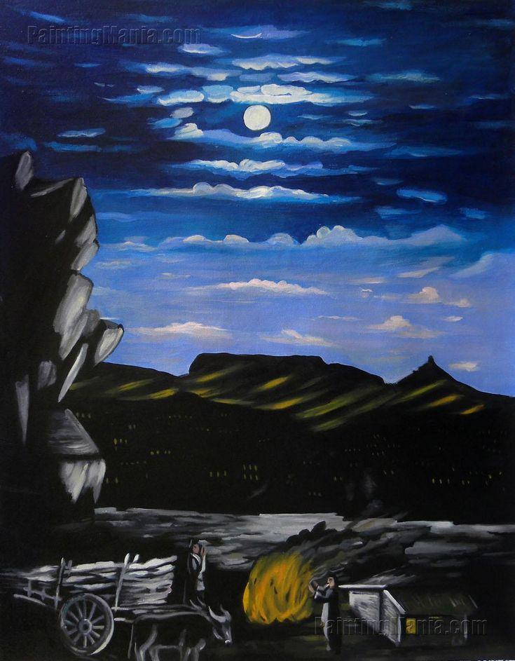 Mountain at Night by Niko Pirosmani