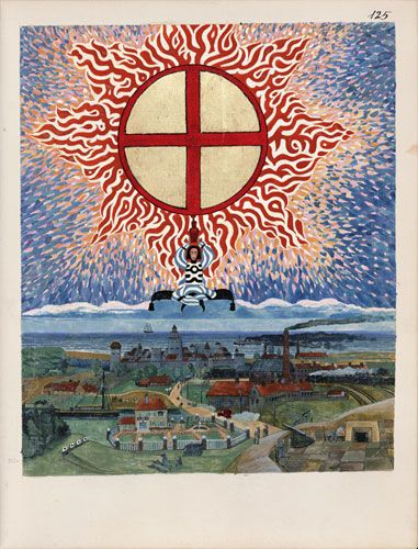"Red book: A page from the The Red Book: Liber Novus by C.G. Jung.  This is an amazing book that Carl Jung worked on in private for many years. It involves a practice utilizing what he called""active imagination"" and features strange paintings and dialogues from archetypal characters culled from Jungs inner world."