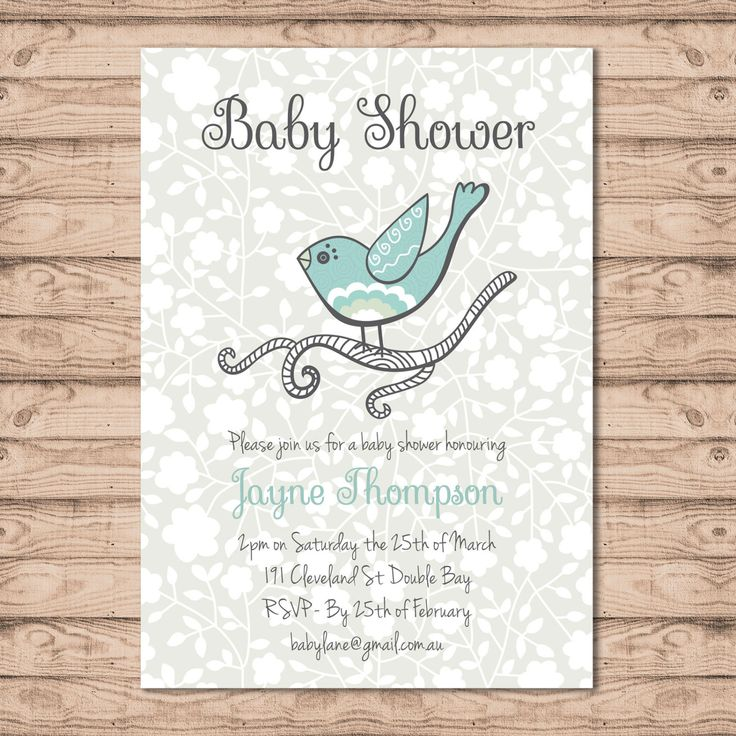 Blue Baby Shower Invitation - Print At Home File or Printed Invitations - Little Finch Unique Personalised Baby Shower Invite - Baby Boy by PaperCrushAus on Etsy