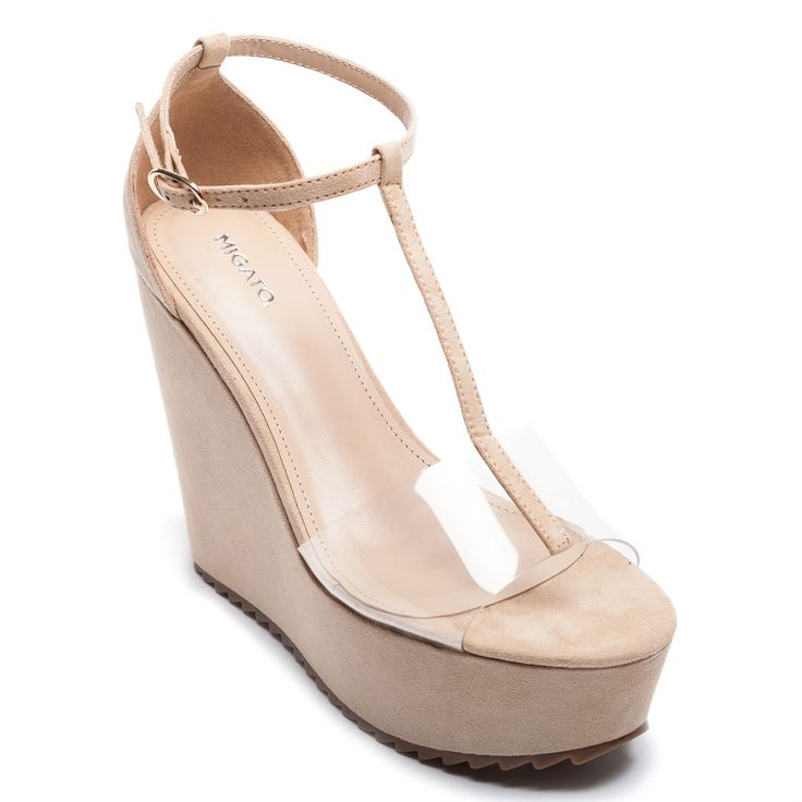 Beige platform with suede texture and see-through PVC surface