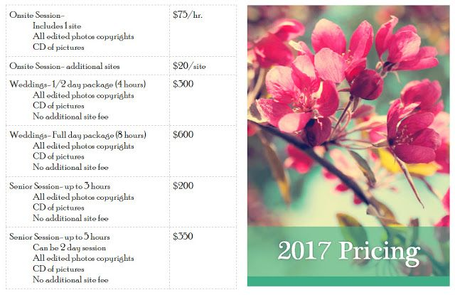 M.Harrison Photography: 2017 Pricing Structure