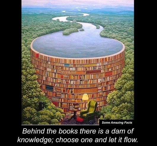 Behind books is a dam of knowledge; Choose one and let it flow. -- Book quote