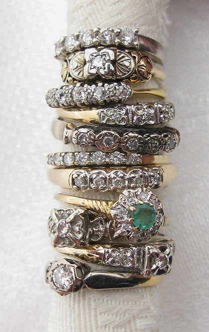 art deco stacking rings/ Vintage Estate 14K Gold Stack Band w/ Diamonds III