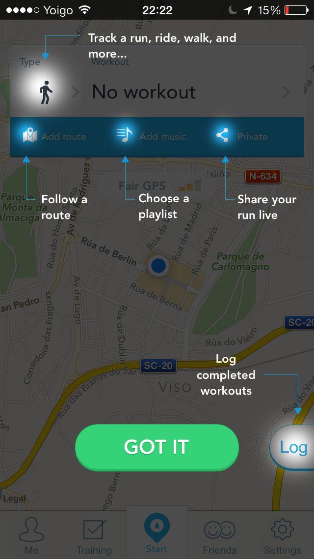 RunKeeper screenshot (coachmark)
