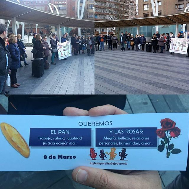 Gesto de Denuncia y Solidaridad que de la Iglesia de Bizkaia el martes 6 de marzo a las 18:30 horas en la Plaza Indautxu de Bilbao con motivo del 8 de Marzo Día de la #Mujer  #8M #8deMarzo #IglesiaPorElTrabajoDecente