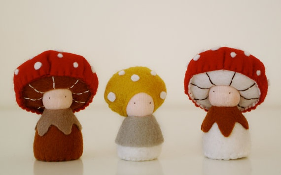 Mushroom Waldorf dolls