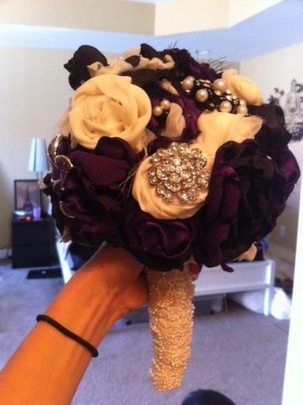 brooch/fabric bouqet :  wedding brooch bouquet purple diy silver black bling fabric flowers purple white ivory flowers diy reception Bou