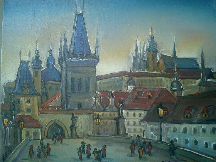 Ioan Cristea-Peisaj din Praga u/p 60/50 cm