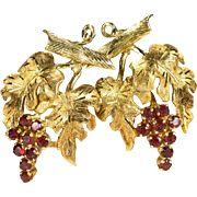 Natural Garnet Grape Earrings 750 18k Gold Hand Crafted Pierced Omega Back Grape Vine Garnet Earrings