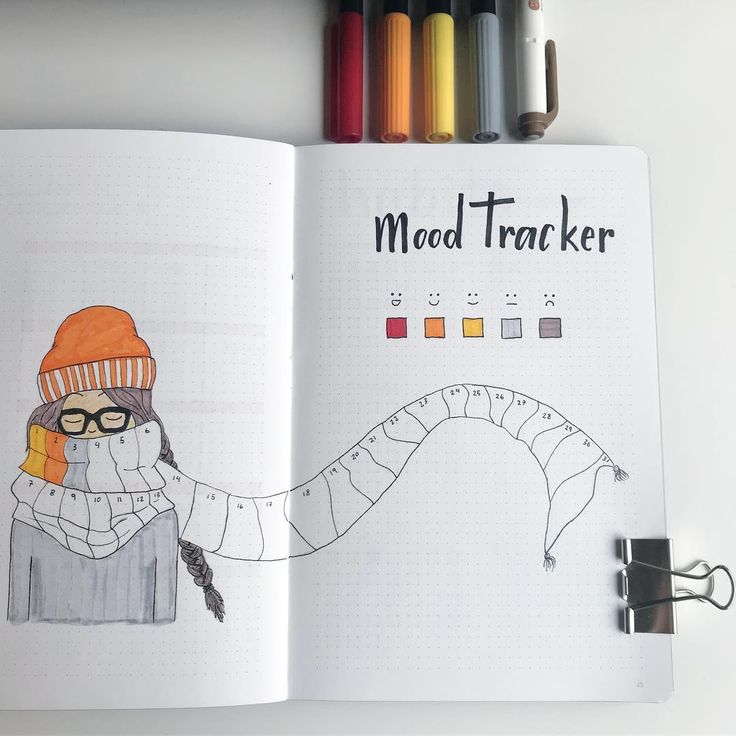 My October mood tracker 🍁i was so inspired when I saw @birdybujo mood tracker, so i had to make a recreation for myself! love how the scarf…