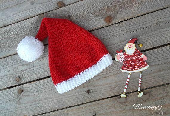 Crochet Baby Santa Hat with Pom Pom Newborn to by MoonPoppyDesign