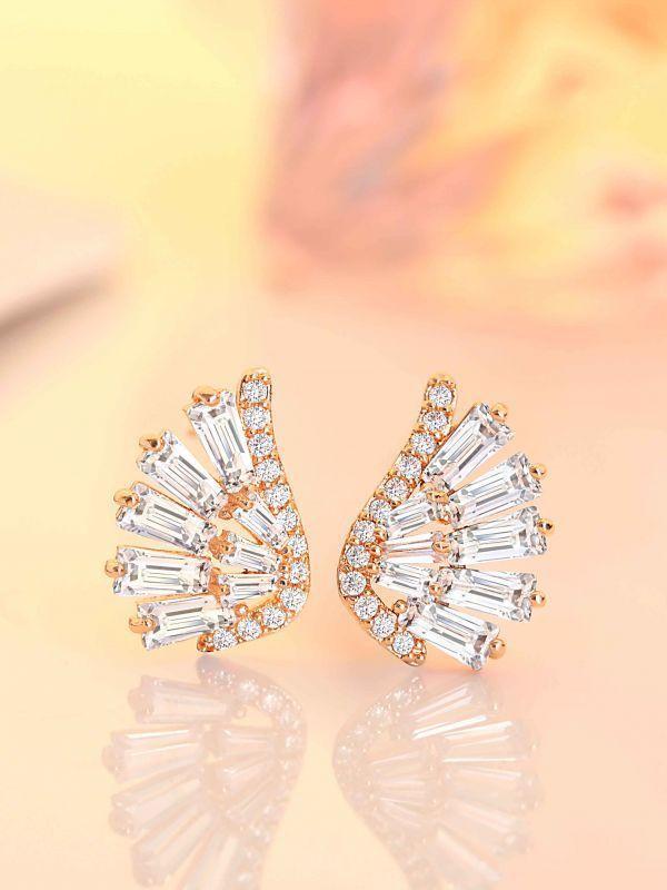 3 00ct Diamonds Earring Round Baguette Diamond Love Stud