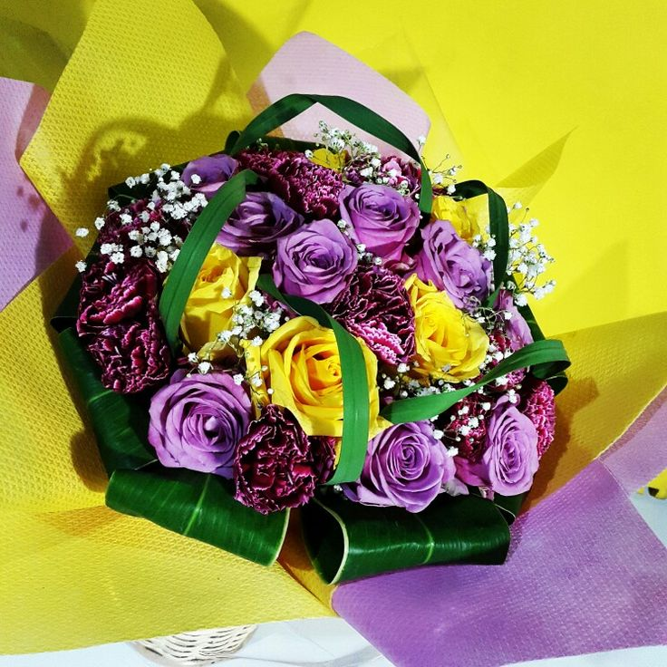 Birthday bouquet purple & yellow roses for Mrs. Nanin