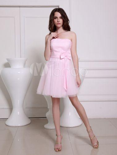 robe de soire sduisante a ligne rose en tulle bustier mini milanoocom - Milanoo Robe De Soiree Pour Mariage